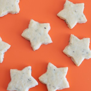 star-shaped lavender shortbread cookies